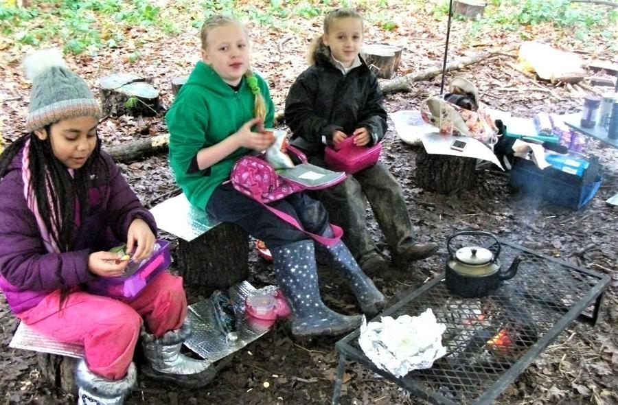 Keeping warm during a camp lunch