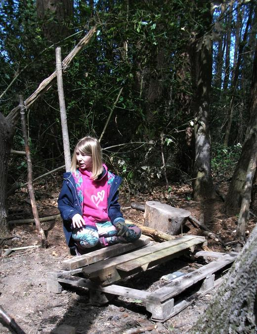 A den in the woods takes shape