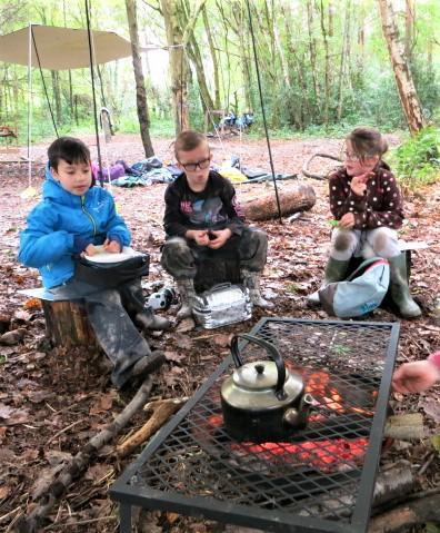 Forest lunch around the toasty campfire