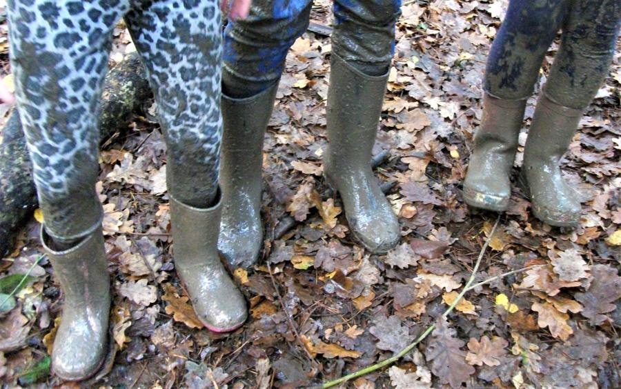 Mucky boots and muddy clothing