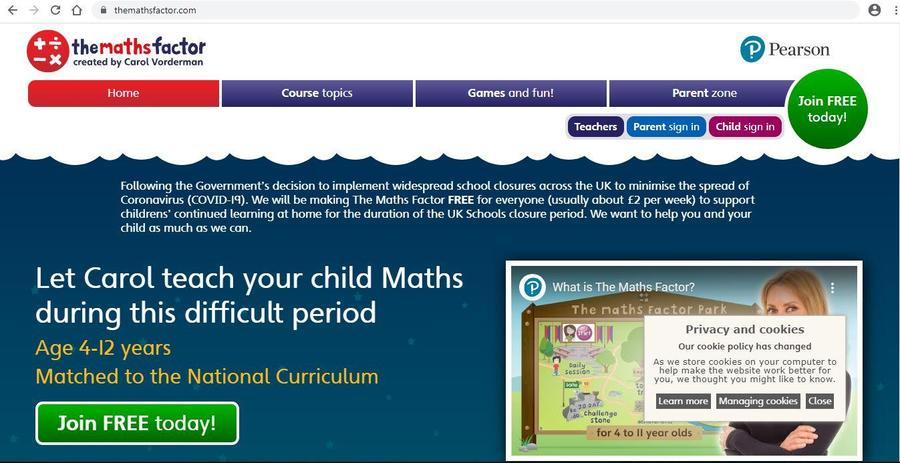 The Maths Factor Homepage