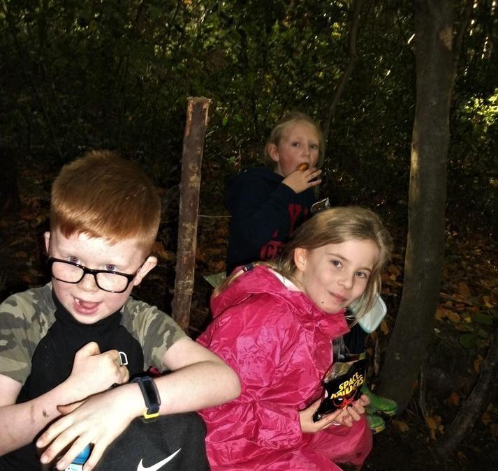 Lunch hidden away in the woods