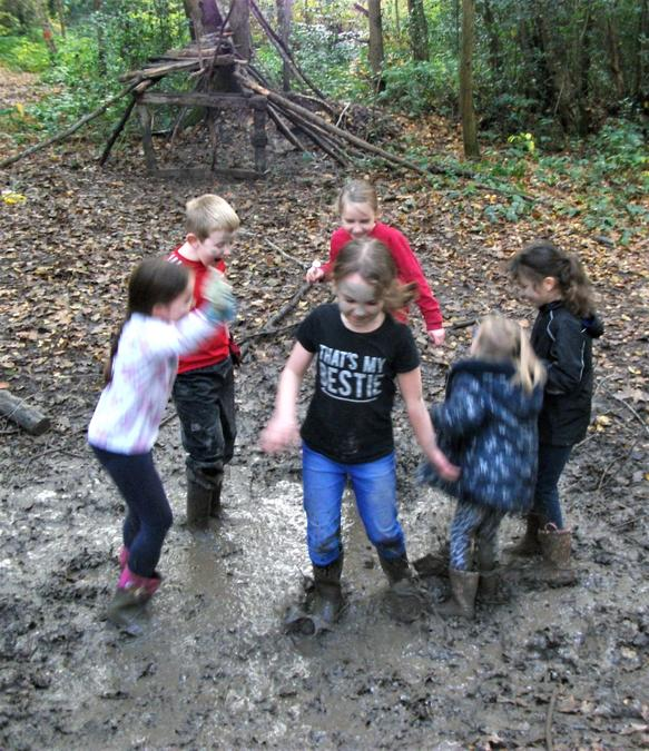 Dancing in the mud ... singing Peppa Pig!
