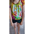 Louisa's finished tie-dyed t-shirt - Amazing!