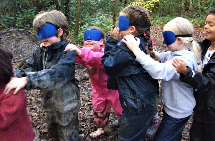 Blindfold trust games out in the woods