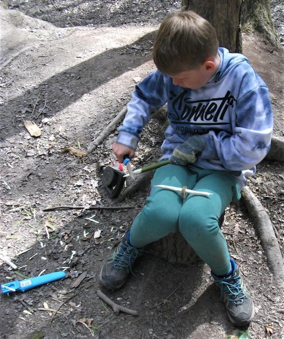 Careful whittling out in the sunny woodland