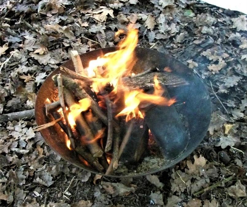 Winter campfire crackling away