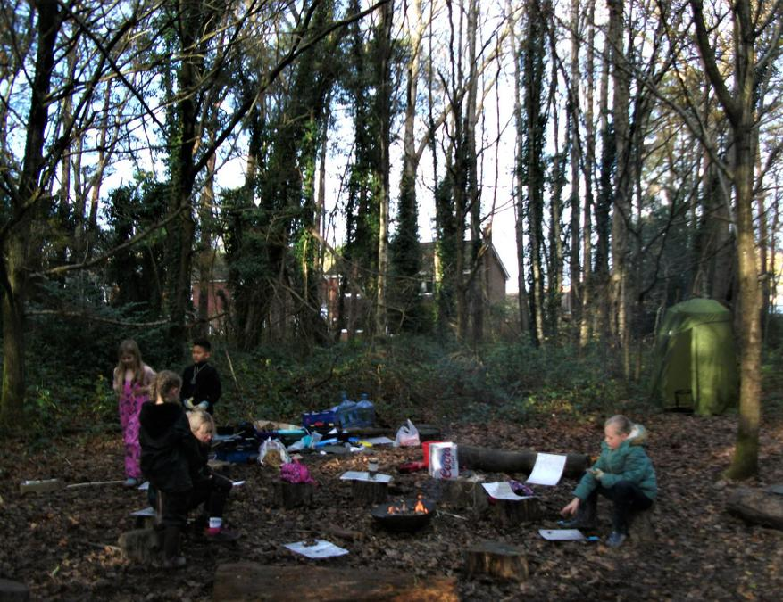 Sun sets early over the winter Forest School