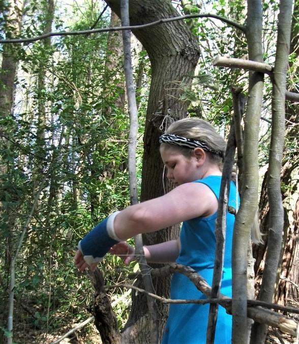 Carefully securing the branches into position