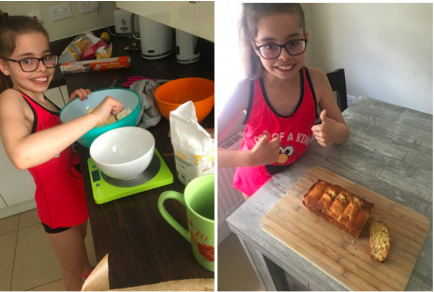 Maddy making a yummy banana cake for DT!