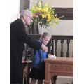 Lighting the candles for Holy Communion