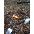 We lit a fire using dead wood.