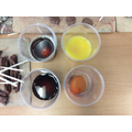 We have used water, orange juice, cola and coffee to cover our eggs.