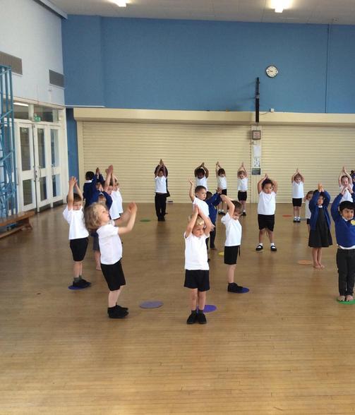 Practising our listening skills in PE.