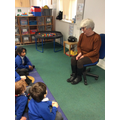 Mrs Gray came to tell us how she helps us.