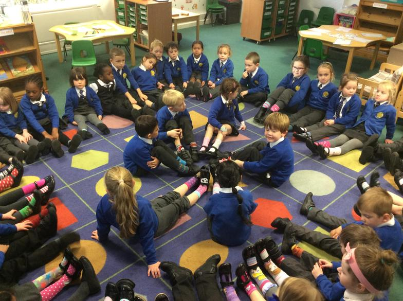 Foundation Stage and Year 1 Showing their socks.