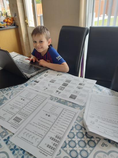 Thomas busy doing some Study Ladder tasks.