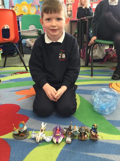 Alec had lots of skylander toys to show us.