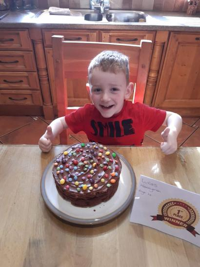 1st Prize for cake baking is Lucas