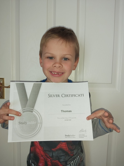 Thomas gets his Silver Certificate! Brilliant!