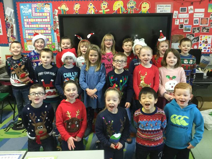 P2 and P3 in our christmas jumpers