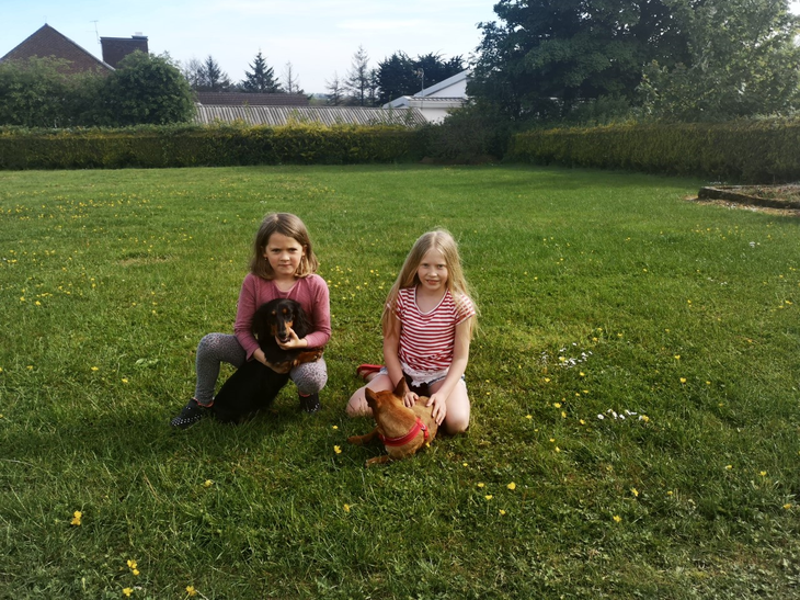 Sofia and Tilly with 2 very cute dogs!