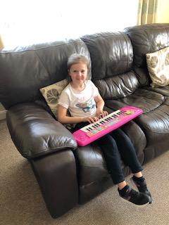 Emily practising her keyboard skills!