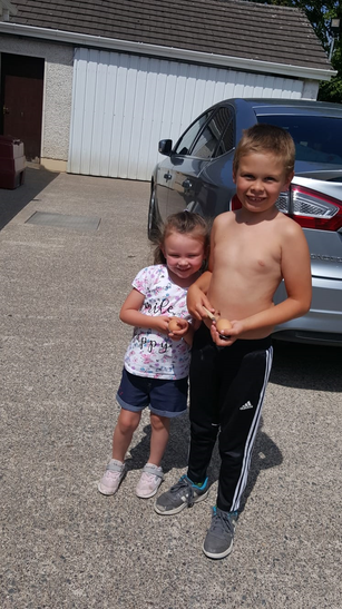 Thomas and Chloe smiling after their race!