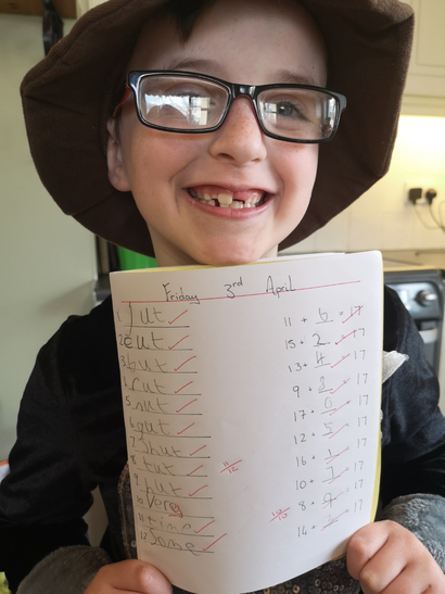 Riley with his brilliant Friday Test Score!
