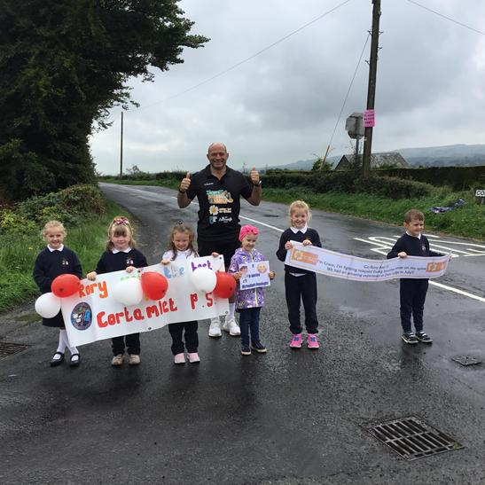 Grace and some of her class our cheering Rory and Mr Johnston on!