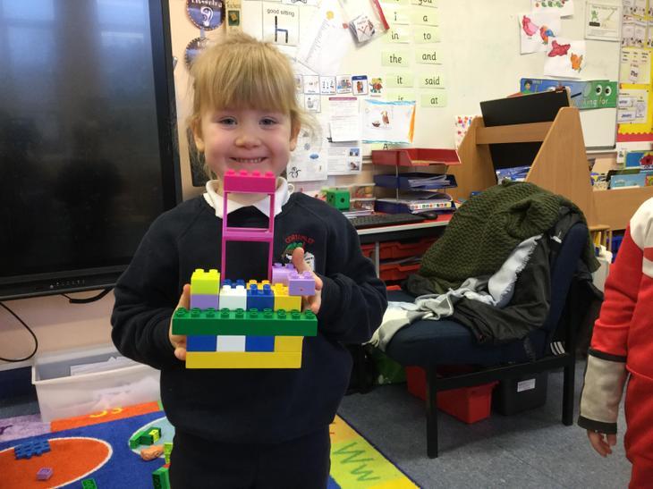 Zoe enjoyed making a bird house from lego.