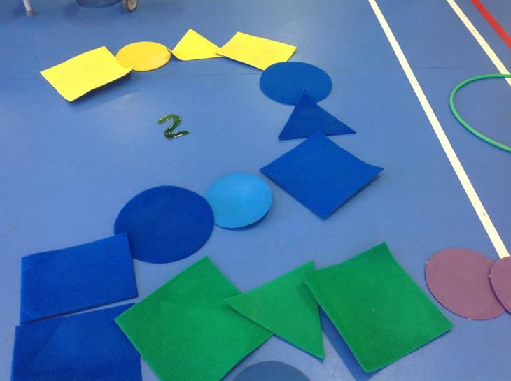 A great number 2 made from shape tiles.