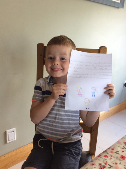 Isaac looks very pleased with his memory writing.