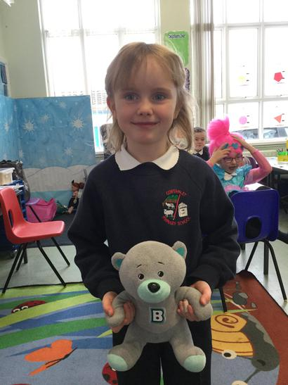 Rebecca brought in her teddy bear.