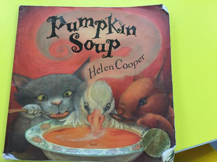 This is the book 'Pumpkin Soup' by Helen Cooper.
