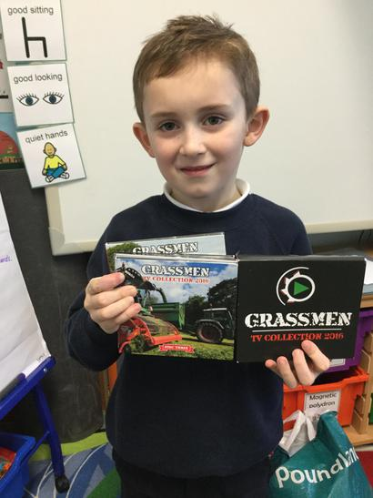 William was excited to show us his Grassmen dvd.