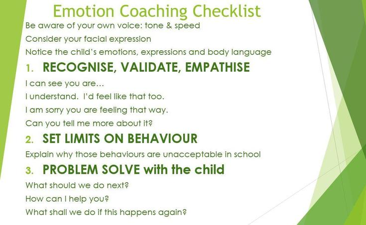 A checklist of Emotion Coaching responses
