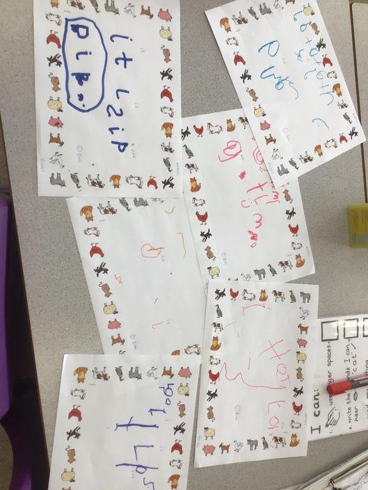 Use initials sounds to write small sentences.