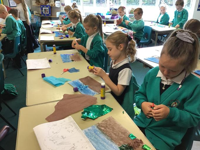 We used our collage skills to create a rainforest collage.