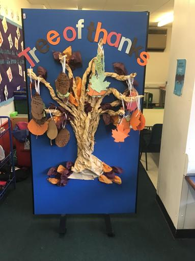 The children then presented their tree of thanks to Year 5.