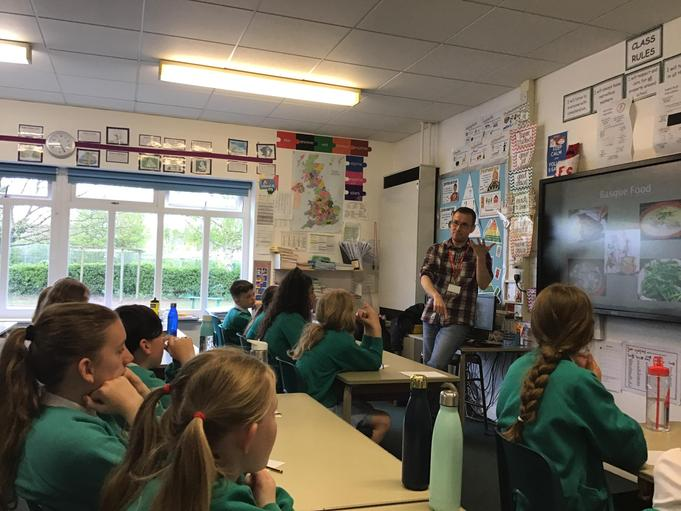 MR COBOS CAME IN TO TALK TO THE CHILDREN ABOUT THE BASQUE REGION FOR OUR GEOGRAPHY TOPIC.