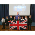 Tim Peake with Year 3 and Year 4 pupils.