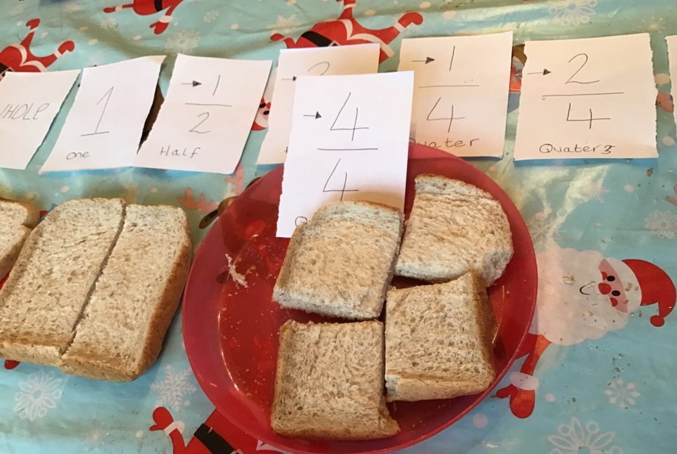 We looked at cutting bread into fractions.