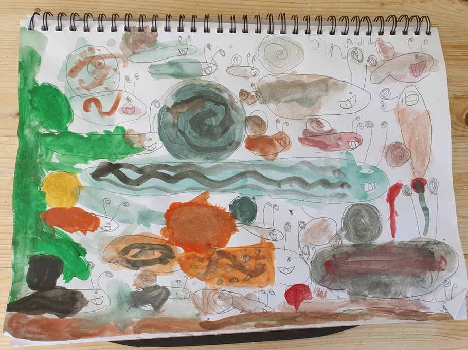 How many minibeasts can you find in Poppy's art?