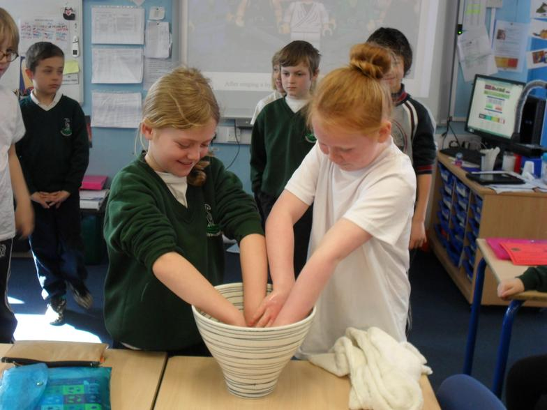 Washing each other's hands