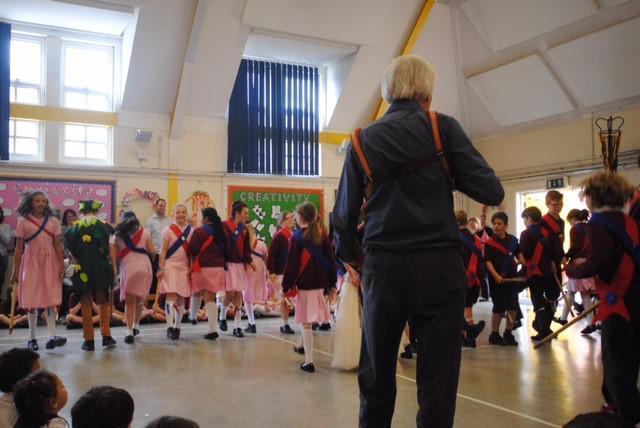 Children maypole dancing