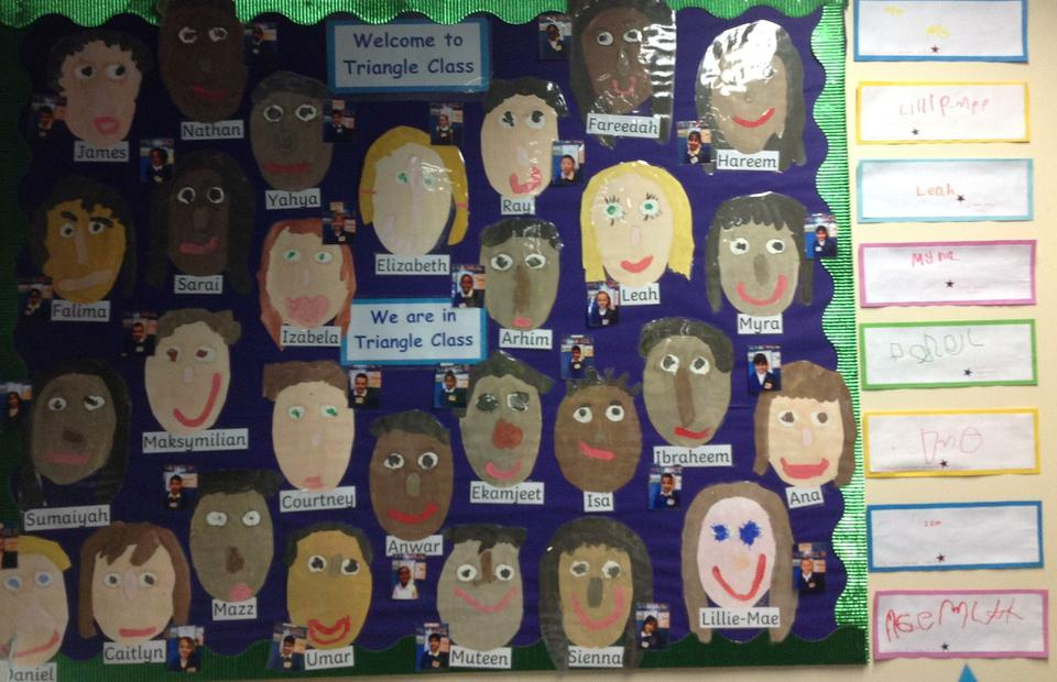 Triangle class have painted self-portraits