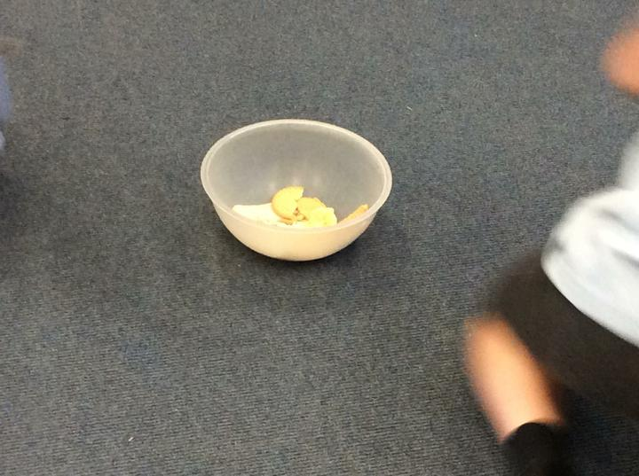 First we put bread and crackers into a bowl.