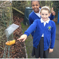 We made bird feeders out of recycled materials.