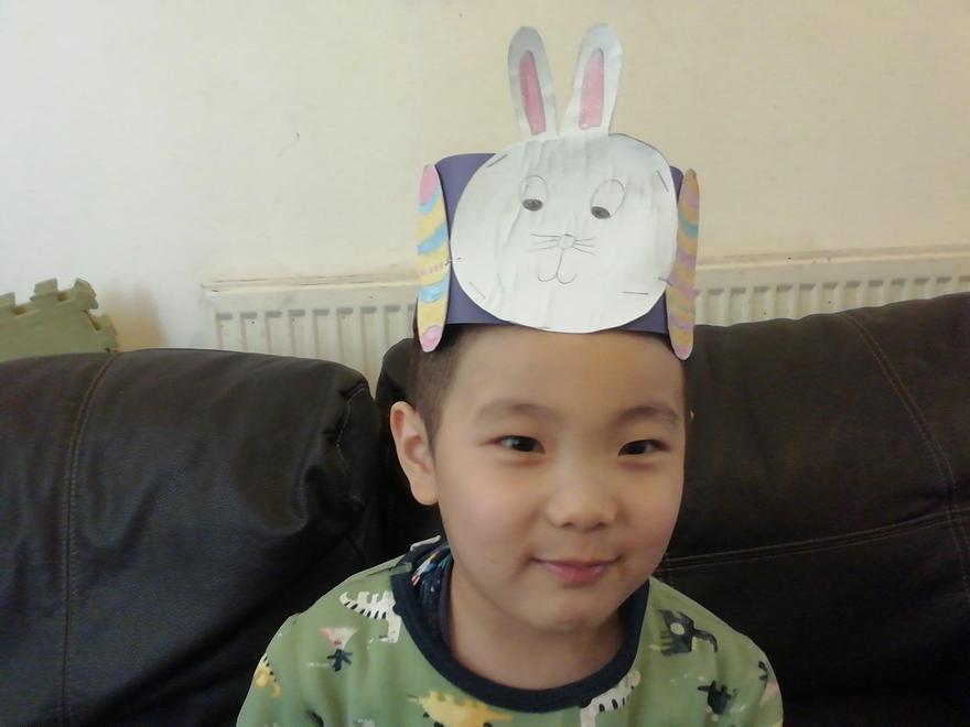 A lovely white Easter bunny - winner of an Easter egg